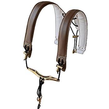 ADORENCE Lengthened Saxophone Shoulder Strap - Genuine Leather 100% Handmade No Stress on Neck Shoulder Strap for Sax Bass Tenor Alto