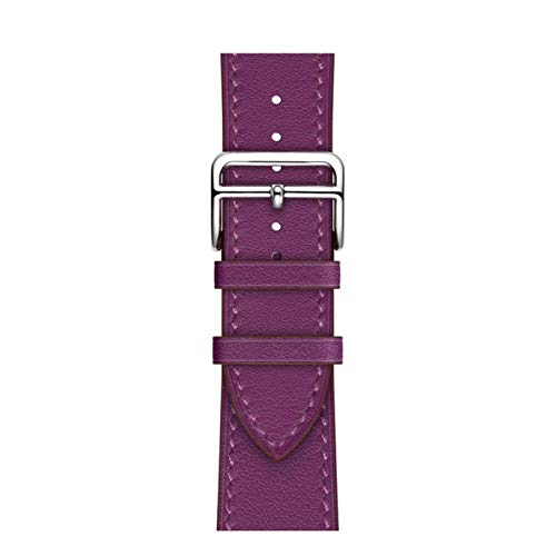 Correa de cuero de un solo anillo adecuada para 38 mm 42 mm correa deportiva de negocios adecuada para Apple Watch 40 mm 44 mm serie 123456 SE-Purple lotus, 40 mm o 456SE