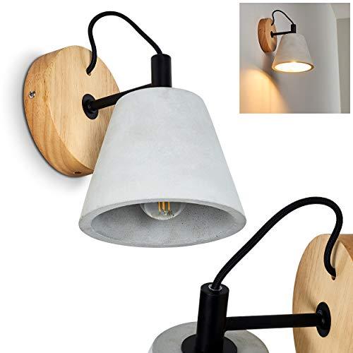 Wandlamp Halltorp, wandlamp van hout/beton/metaal in bruin/tape/zwart, 1 vlam, 1 x E14 stopcontact, max. 40 Watt, wandvlek in retro/vintage uitvoering, LED geschikt