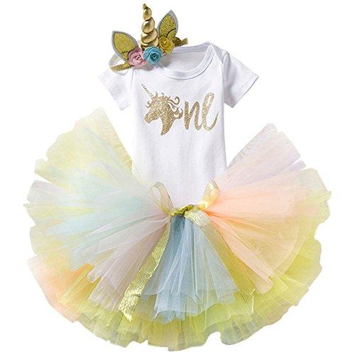 3PCS Toddler Baby Girls Unicorn Outfit One Mermaid Romper Top+Tutu Skirt + Headband Summer Clothes Set #1 Gold+Rainbow