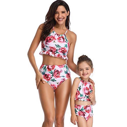 Yuyudou moeder en baby dochter dames tweedelig badmode, ruches bloemen print badpak ouder-kind-bikini