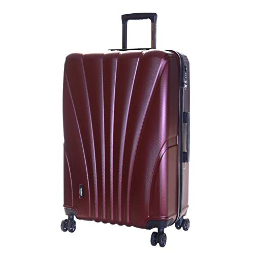 Karabar Extra Large Hard Shell Luggage Suitcase Bag XL 76 cm 4.5 kg 100 litres 4 Spinner Wheels TSA Number Lock, Seashell Dark Red