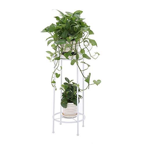 WJHCDDA Blumenhocker Blumenständer mit 2 Stufen for Indoor Balkon Eisen-Kunst-im Freien Garten-Stand-Blumenständer (Color : White)