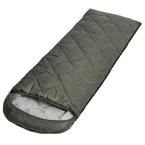SONGMICS Schlafsack für Camping, Deckenschlafsack, kompakt, olivgrün GSB20BR
