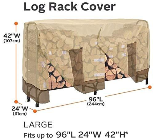 Risareyi 4FT 8FT extérieur Bois rack couverture, étanche anti-poussière anti-pluie 420D robuste Bois de chauffage Couverture de stockage avec le sac Carry (Size : B(8ft))