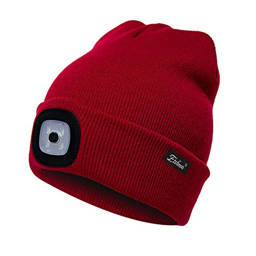 Etsfmoa Unisex LED Beanie Hat with Light, Gift for Men and Women USB Rechargeable Winter Knit Lighted Headlight Hats Headlamp Torch Skull Cap (Red)