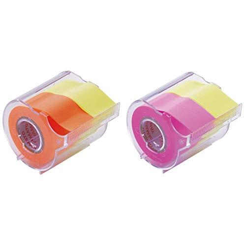 【セット買い】ヤマト 付箋 メモック ロールテープ カッター付き 25mm×10m NORK-25CH-6C & 付箋 メモック ロールテープ カッター付き 25mm×10m NORK-25CH-6A
