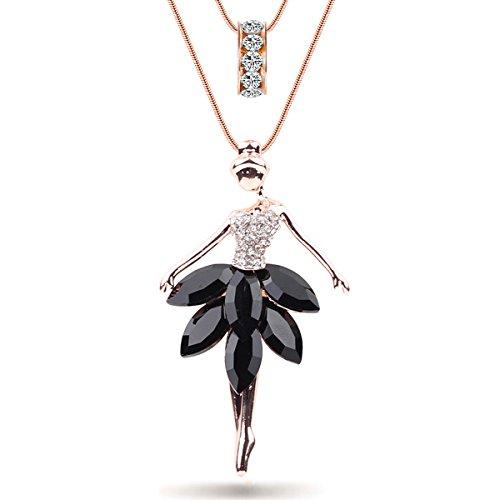 AdronQ Declaración Maxi Alloy Enamel Dance Ballet Girl Fairy Angel Collar Colgante De Cadena