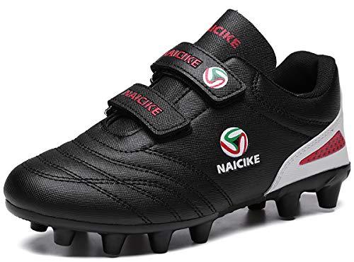 Unisex-Niños Zapatillas de Fútbol Niño 31 Spike Botas de Fútbo FG/AG Aire Libre Atletismo Zapatos de Entrenamiento Profesionales Césped Artificial Zapatos de Fútbol Training Zapatos De Interior Negro