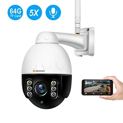 Jennov Außen Überwachungskamera IP WLAN Kamera Outdoor, 5-Fach Optischem Zoomobjektiv Sicherheitskamera Innen und Außen IP66 Wasserdicht IR-Nachtsich Bewegungsmeldermit 64G SD-Karte…