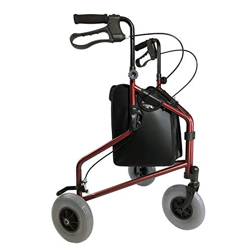 Tuffcare 3 Wheel Walker for Seniors, Foldable, Rollator Walker with Three Wheels, Height Adjustable Handles with Loop Locking Breaks(Candy Apple Red)