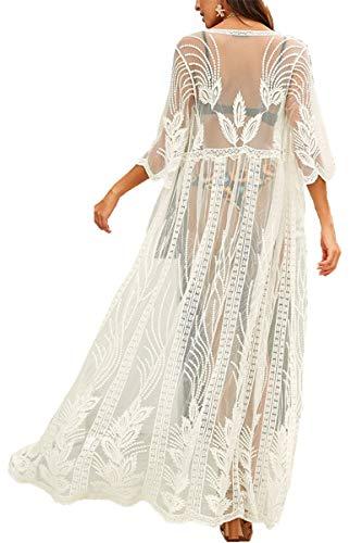 AiJump Vestido Floral Encaje Transparente de Playa Kaftan Kimono Pareos Cover Ups para Mujer