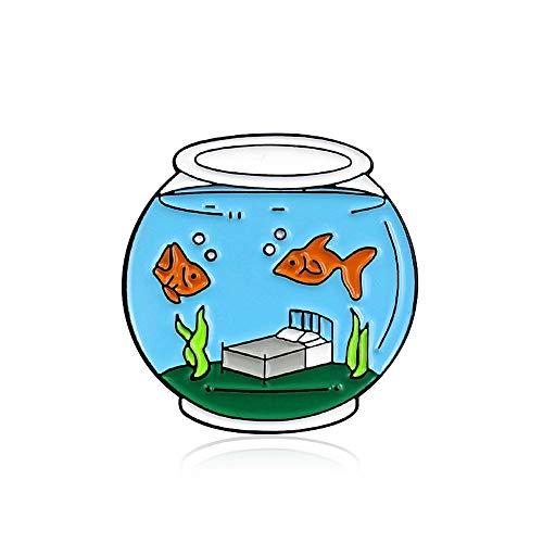 JIWEIER Lustige Unterwasser Schlafzimmer, Meerwasser-Glas Aquarium, Koi Algen Dripping Öl Brosche Schmuck, Jeansjacke Abzeichen Broschen für Frauen (Size : 1)