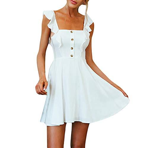 Vectry Vestidos Ibicencos Mujer Blancos Playa Vestidos De Fiesta Volantes Vestidos Largos Casual Verano Vestidos Baratos Mini Vestidos Muy Sexys Vestidos Casuales Verano Vestido Blanco