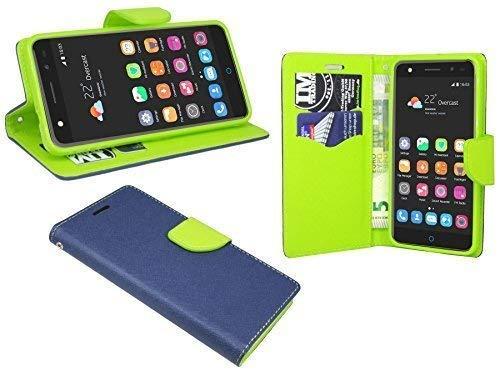 ENERGMiX Buchtasche kompatibel mit ZTE Blade V7 Lite Hülle Hülle Tasche Wallet BookStyle mit Standfunktion in Blau-Grün (2-Farbig