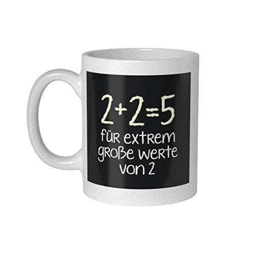 getDigital 2 + 2 = 5 Becher Tasse für Nerds und Geeks, Keramik, weiß, 10 x 10 x 10 cm