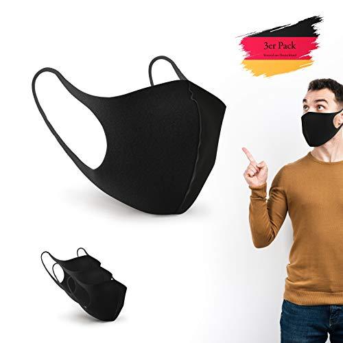 BartZart 3er Staubschutzmasken aus EIS Seide I waschbar und wiederverwendbar I Face Mask Black I Flexible Mundschutzmaske I Nasenschutzmaske I Motorrad Maske I Staubmaske