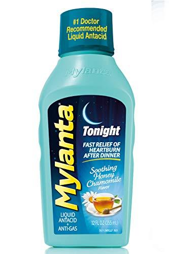 Mylanta Antiácido/Anti-gas Líquido, fórmula de noche, miel-manzanilla, 12 onzas de fluido