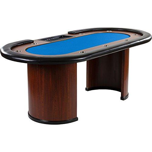 """Maxstore Pokertisch """"Royal Flush"""", 213 x 106 x75 cm, Farbwahl, Gewicht 58kg, 9 Getränkehalter, gepolsterte Armauflage, blau"""