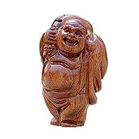 中国の風水装飾木製笑い仏像、富を引き付けるとオフィスと家のための幸運のお祝いギフト