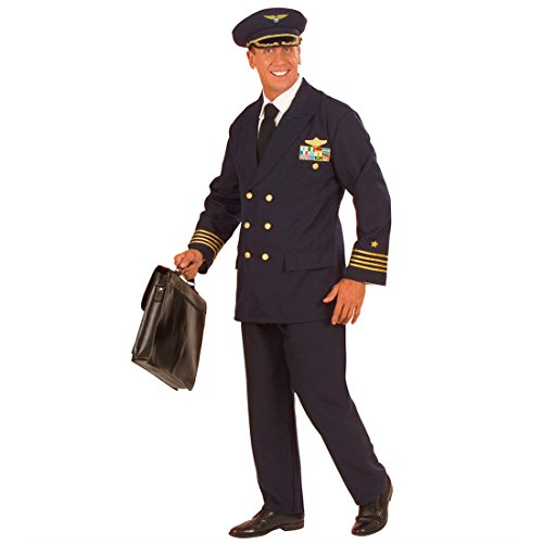 NET TOYS Blaues Piloten Kostüm Uniform Pilotenkostüm Pilot Fasching Karneval XL 54/56