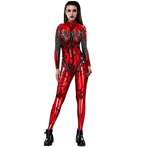 NooobTerrm Damen Halloween Karneval Kostüm 3D Skelett Langarm Overall Rücken Zip Catsuit Bodycon Ganzkörperanzug Cosplay Bodysuit(L, Spinne B)