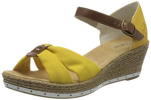 Rieker Damen Frühjahr/Sommer 60467 Geschlossene Sandalen, Gelb (Yellow/Amaretto/Gelb 69), 42 EU