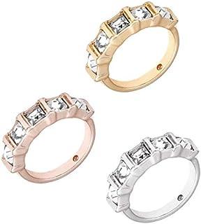 خواتم جيس ثلاثية من B&s مكدسة للنساء | ذهبي وردي، وذهبي، وفضة ودرجات مع أحجار شفافة (8)