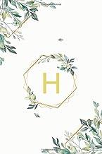 """Η: η Eta, Initial Monogram Greek Alphabet Letter Η Eta, Cute Cover Leaves Decoration, Unlined Notebook/Journal, 100 Pages, 6""""x9"""", Soft Cover, Matte Finish"""