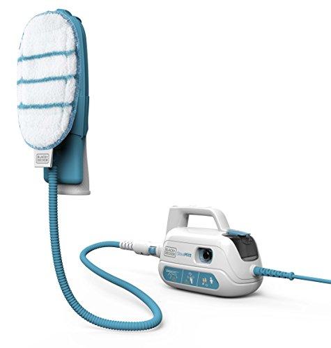 Black+Decker 1000W Handdampfgerät, Dampfreiniger Steamitt Plus inkl. 5-teiligem Zubehör, mit konstantem Dampfausstoß per Knopfdruck, Aufheizphase von max. 20s, Kalkfilter, FSH10SM1