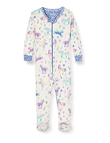 Hatley Organic Cotton Footed Sleepsuits Pyjama, Blanc (Playful Ponies 100), 6 Mois Bébé Fille