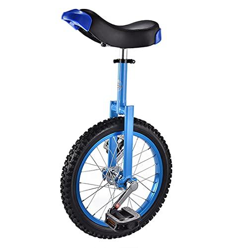 MeTikTok Einräder 16/18 Zoll Einrad, Höhenverstellbarer Unicycle, Rutschfester Alufelge Mountain Reifen Balance Übung Spaß Fitness for Erwachsene Kinder Fahrrad,Blau,16 Zoll