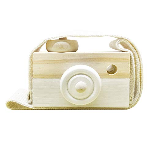 Baby Toy Wooden Mini Camera Toy, Baby Kids Cute Mini Sharpe Toy, Neck Hanging Photographed Props for Baby Toddlers Children Kids' Room Hanging Decor Gift (White)