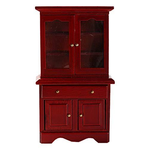 MagiDeal 1:12 dockhus björk trä miniatyr skåp möbler set - röd, 14 x 8,1 x 3,8 cm