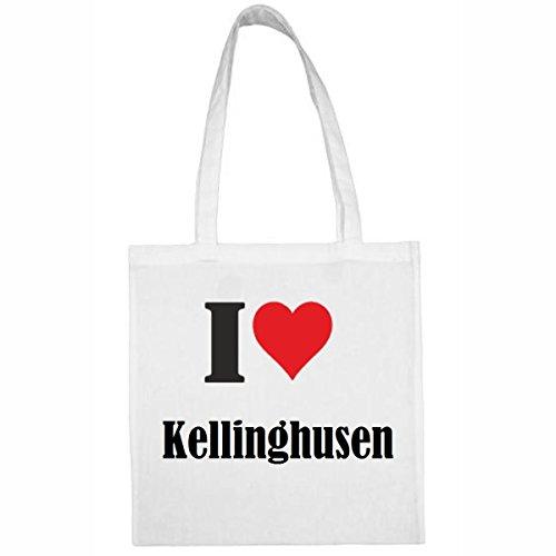 Tasche I Love Kellinghusen Größe 38x42 Farbe Weiss Druck Schwarz