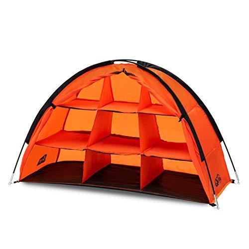 Qeedo Quick Shelf Campingschrank, 120 x 70 x 50cm, Faltschrank, schneller Aufbau- orange