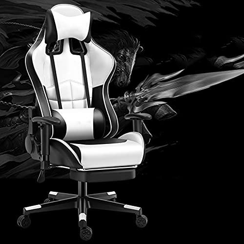 YQX-Gaming-Stuhl Mit Fußstütze Racing Office Gamer-Stuhl Verstellbarer Drehbarer Computer-Schreibtischstuhl Ergonomische Hohe Rückenlehne,Weiß