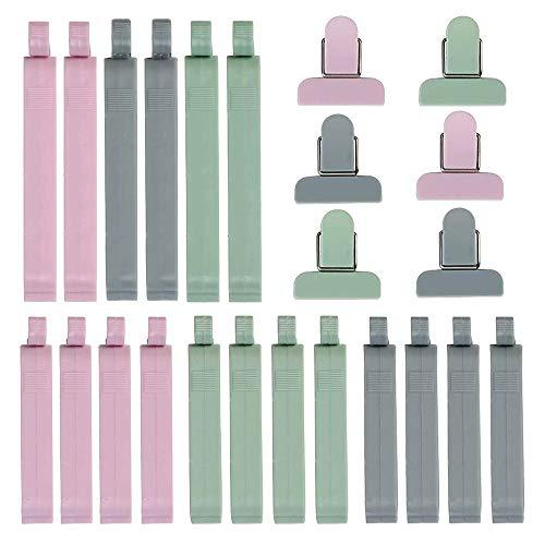 Gobesty Kunststoff Tütenclips, 24 Stück Kunststoff Verschließen Tüte Clips Bunt Plastik Lebensmittel Verschluss Clips für Tüten Lebensmittel und Snacks Lagerung