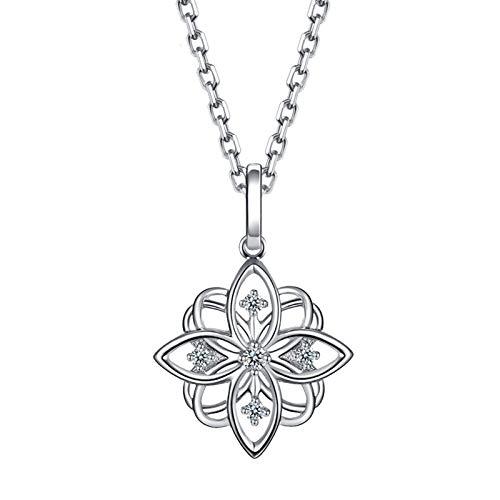 Amody Damen 18k (750) Weißgold Halskette Kirsch Blüten mit Diamant Anhänger Halsketten Weiß Gold Schmuck für Frauen Halskette mit Geschenkbox