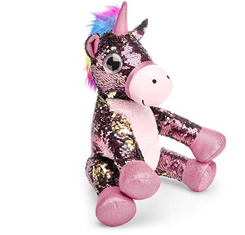 Mousehouse Gifts - Unicornio de peluche con lentejuelas - Rosa - 29cm