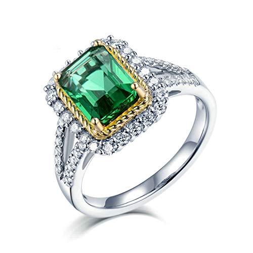 Beydodo Anillo Mujer Compromiso,Anillo Compromiso Mujer Oro Blanco 18K Plata Verde Oro Rectángulo Esmeralda Verde 2ct Diamante 0.6ct Talla 18,5(Circuferencia 58MM)