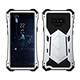 Galaxy Note 9 Case, Armor Aluminum Metal Case Cover Extreme Alloy Metal Bumper Hybrid Soft Rubber Military Heavy Duty Shockproof Outdoor Hard Defender for Samsung Galaxy Note 9 Case 2018 - S Silver