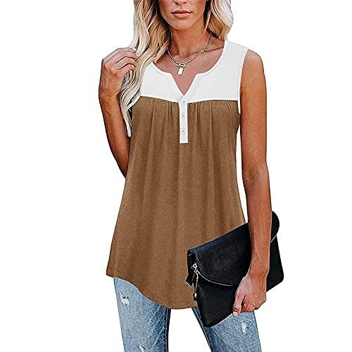 Camiseta Mujer sin Mangas de Costuras de Color Liso Blusas Modas Cuello V Moderna Camisas de Estampado Basica Camiseta Suelto Verano Remeras Elegante Tops Casual Ideal para Primavera Verano Otoños
