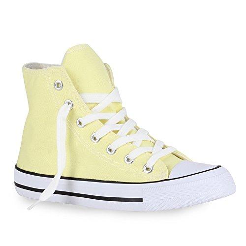 stiefelparadies Sportliche Damen SneakersStoff Camouflage Schnürer Sneaker High Neon Sport Schuhe 40718 Gelb Weiss 43 Flandell