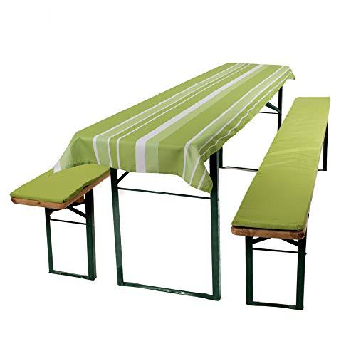 ESTEXO® Home & Garden 3-teiliges Auflagen-Set für Biertischgarnituren, Bierbankauflage, Sitzpolster, Bierzelt-Garnitur, Biertischauflage, Tischdecke (Kiwi)