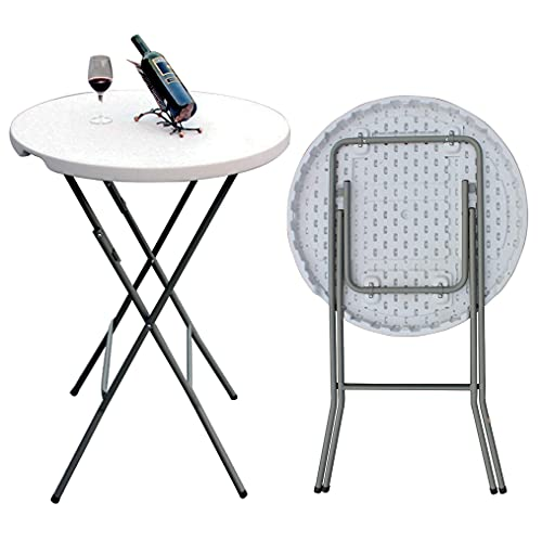 2.6ft Round Folding Table Plastic Foldable Bar Table Indoor & Outdoor for Bistro Bar Wedding Garden Party Trade Fairs Events (Ø80xH110CM COCKTAIL TABLE)