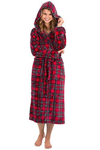 VEAMI Women's Aspen Ultra-Soft Plush Warm Fleece Bathrobe with Hood-Christmas Morning-Small, Long
