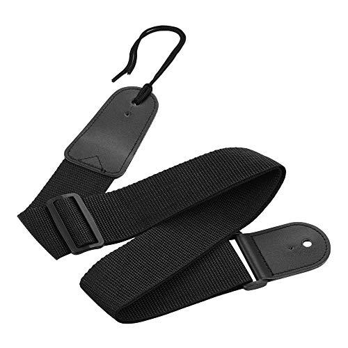KKmoon DG-1121 Correia de guitarra para guitarras acústicas elétricas Correias de nylon pretas ajustáveis de 32-54 polegadas com extremidades de couro artificial Acessórios para instrumentos