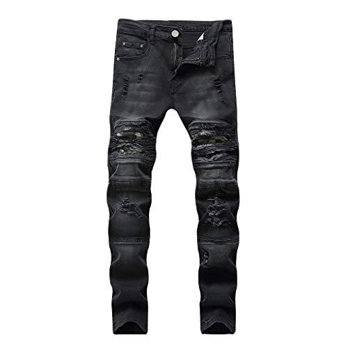 iYYVV Mens Fashion Causal Pocket Zipper Slim Fit Shredded Long Jeans Pants Trousers Black