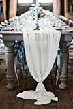 B-COOL 27x120 inches White Chiffon Table Runner Overlay for Romantic Boho Rustic Wedding Party Bridal Shower Decorations